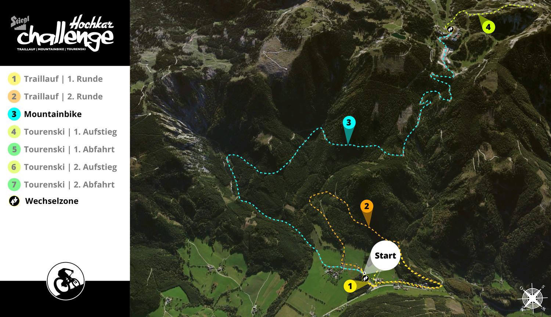 Hochkarchallenge 2017 - Streckenplan Mountainbike