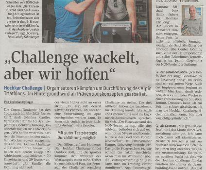 Hochkar Challenge: Jubiläum am 10. April 2021 geplant
